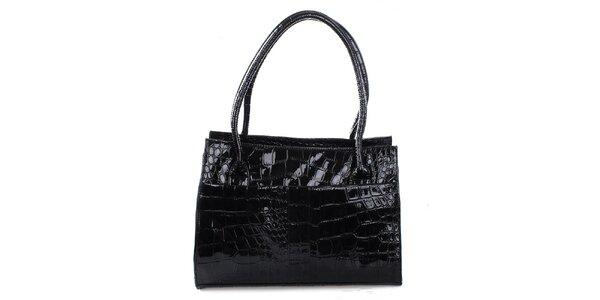Dámska lesklá čierna priestorná kabelka Mercucio
