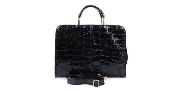 Dámska lesklá čierna priestorná kabelka Mercucio s odnímateľným popruhom