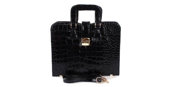 Dámska čierna lesklá kabelka Mercucio