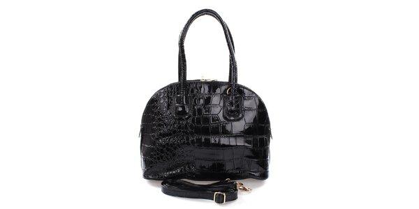 Dámska lakovaná kabelka v čiernej farbe Mercucio