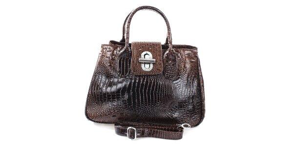 Dámska lesklá kabelka s otočným zámčekom v hnedej farbe Mercucio
