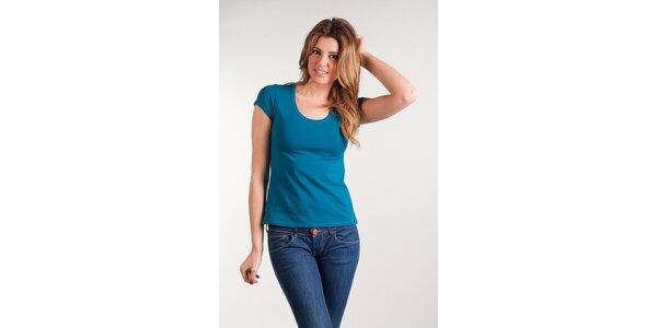 Dámske tyrkysové tričko Calvin Klein okrúhly výstrih