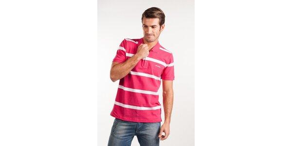 Pánske ružové prúžkované polo Calvin Klein