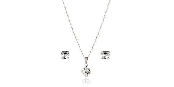 Strieborná sada Swarovski Elements plochá kocka - náušníce a náhrdelník