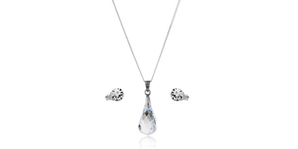 Strieborná sada Swarovski Elements kvapka - náušníce a náhrdelník
