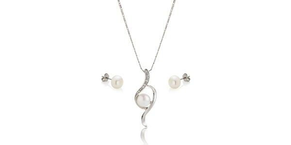 Sada perlových náušníc a náhrdelníku Swarovski Elements