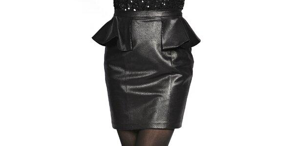 Dámska čierna sukňa v koženom looku Liquorish