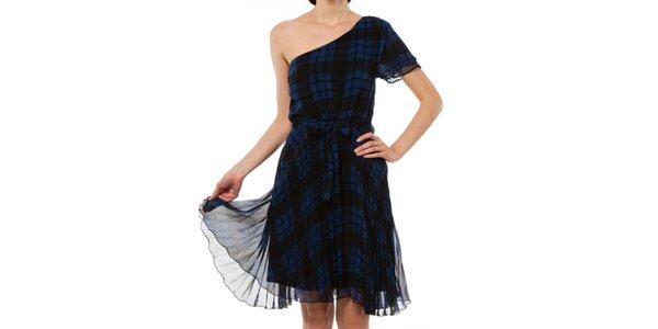 Dámske kockované šaty na jedno rameno Liquorish