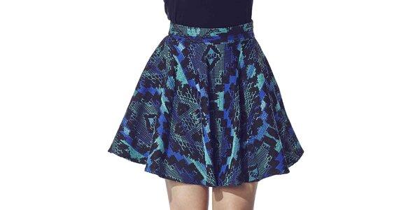 Dámska sukňa s modro-tyrkysovou potlačou Liquorish