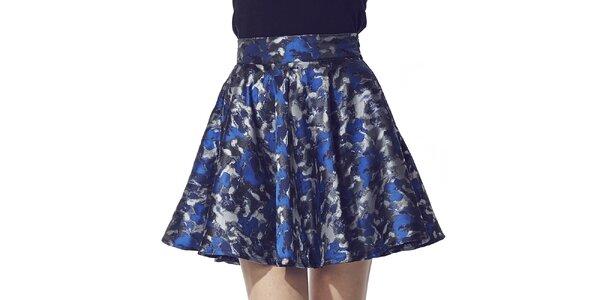Dámska krátka sukňa s modro-striebornou potlačou Liquorish