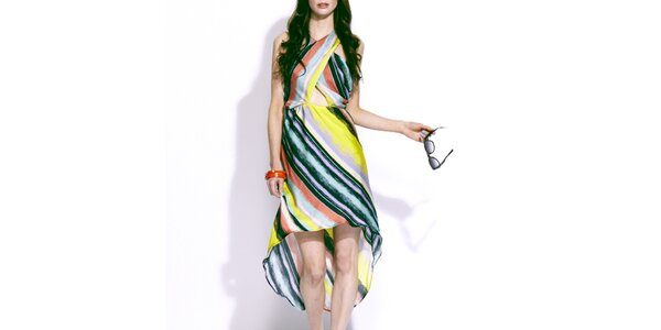 Dámske farebné šaty s asymetrickou sukňou Liquorish
