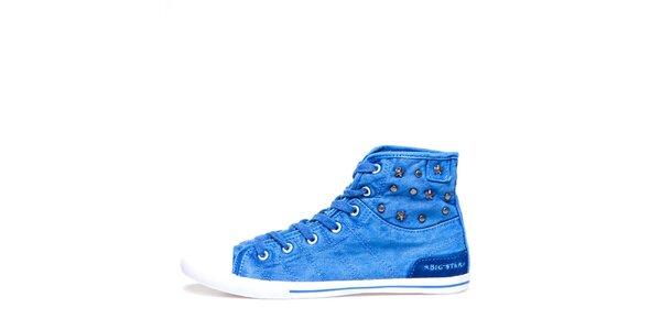 Dámske modré členkové tenisky s hviezdičkami Big Star