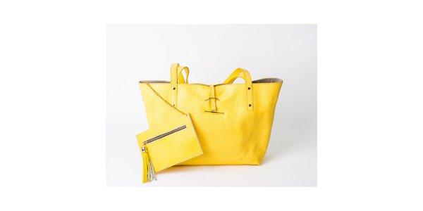 Dámska kanárikovo žltá taška s peňaženkou Pelleteria