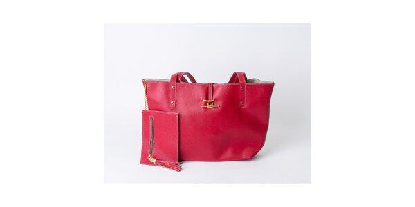 Dámska jahodovo červená taška s peňaženkou Pelleteria
