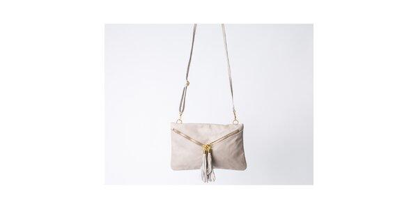 Dámska krémová kabelka so strapcami Pelleteria