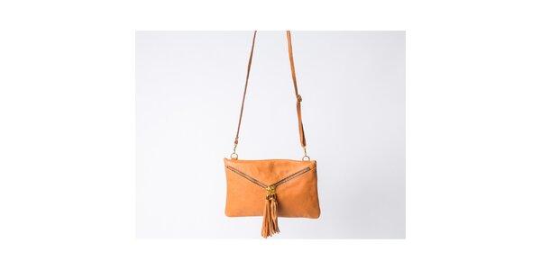 Dámska koňakovo hnedá kabelka so strapcami Pelleteria