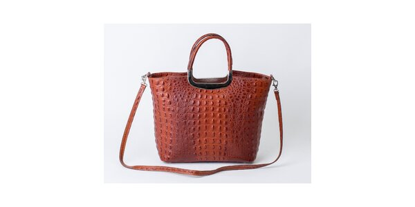 Dámska hnedá kabelka s krokodílim vzorom Pelleteria