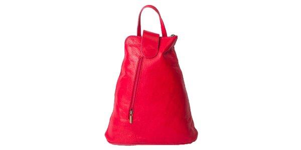 Dámsky sýto ružový kožený ruksak Pelleteria