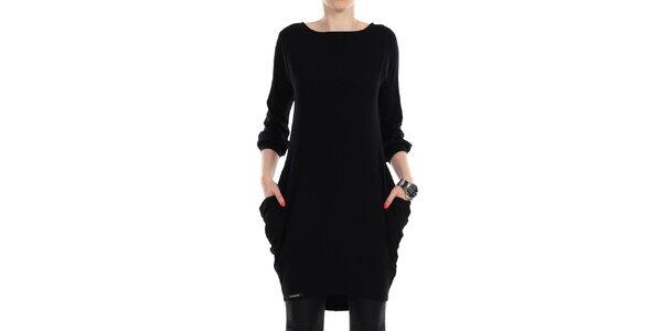 Dámske čierne šaty s vreckami na bokoch Yulia Babich