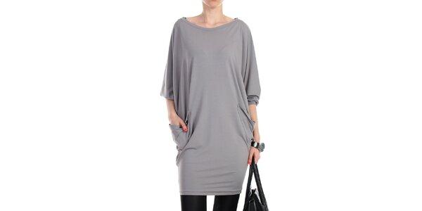 Dámske šedé voľné šaty s vreckami na bokoch Yulia Babich