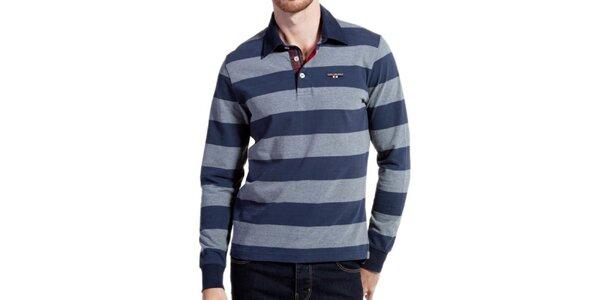 Pánske modro-šede pruhované polo tričko Galvanni