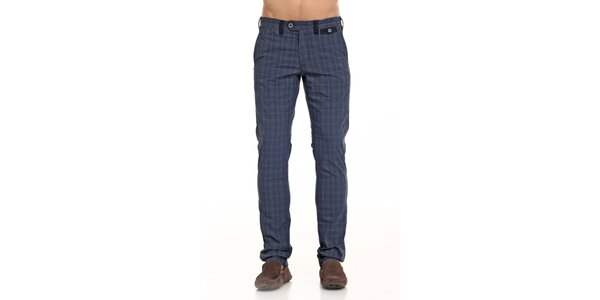 Pánske modré kárované nohavice Galvanni