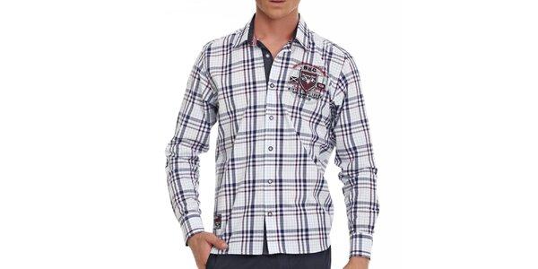 Pánska bielo-modrá károvaná košeľa Galvanni s nášivkami na lakťoch