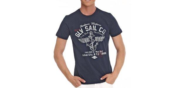 Pánske tmavo modré tričko s námorníckou potlačou Galvanni
