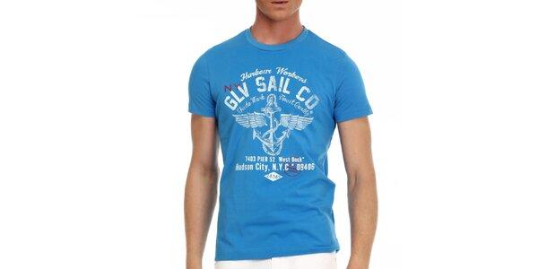 Pánske modré tričko s potlačou Galvanni