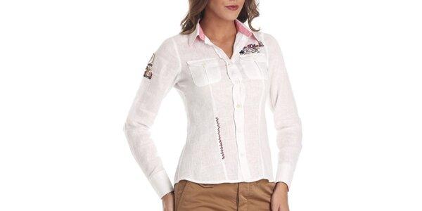 Dámska biela ľanová košeľa s výšivkami Galvanni