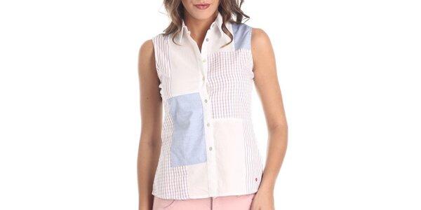 Dámska biela vzorovaná košeľa bez rukávov Galvanni