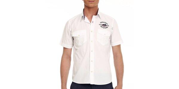 Pánska biela košeľa s krátkymi rukávmi Galvanni