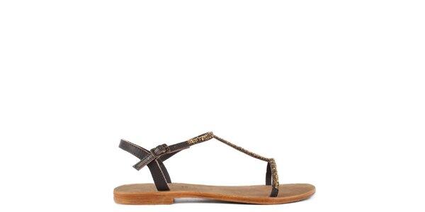 Dámske hnedé kožené sandále Gardini