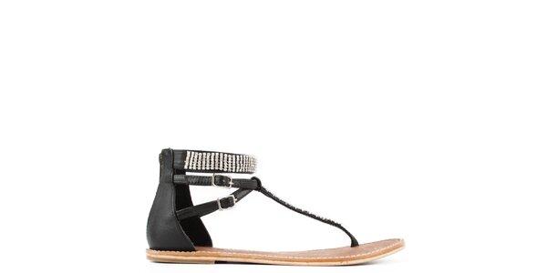 Dámske čierne kožené sandále s prackami Gardini