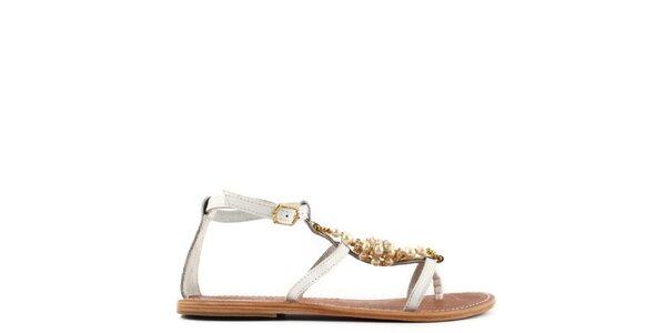 Dámske biele kožené sandále s perlami Gardini