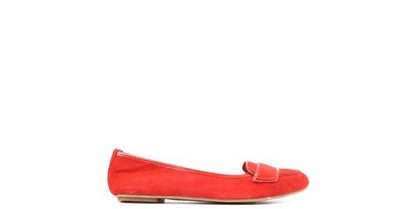 Dámske červené mokasíny z kože Toscania