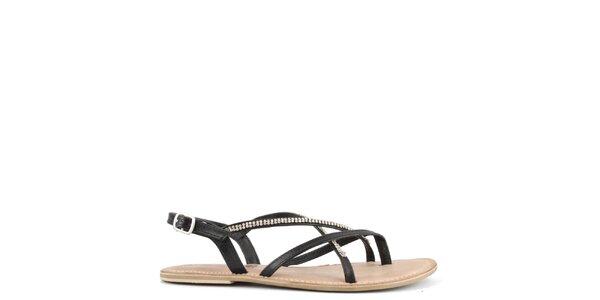 Dámske čierne kožené sandále s ozdobnými remienkami Toscania
