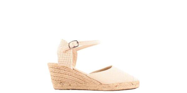 Dámske béžové sandále na kline Azur