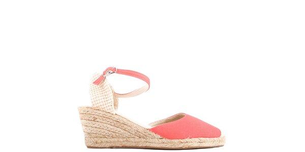 Dámske korálovo červené sandále na kline Azur