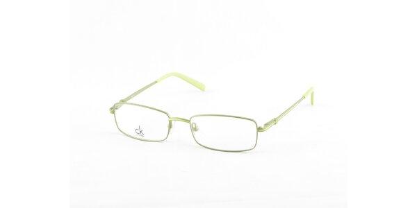 Strieborné dioptrické obrúčky Calvin Klein so zelenými detailami