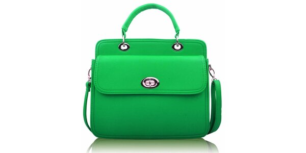 Dámska zelená kabelka so zámočkom Nubiz