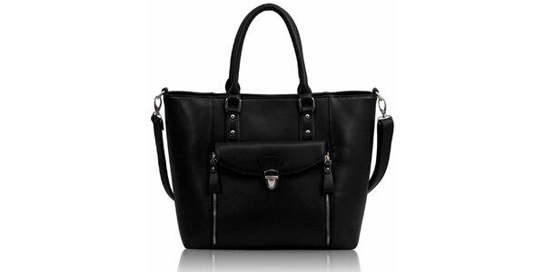 Dámska čierna kabelka so zipsami Nubiz
