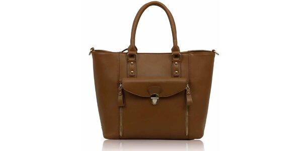 Dámska hnedá kabelka so zipsami Nubiz