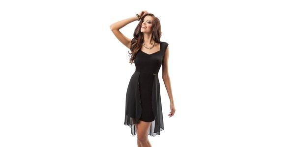 Dámske čierne šaty s transparentnou vrstvou Enny