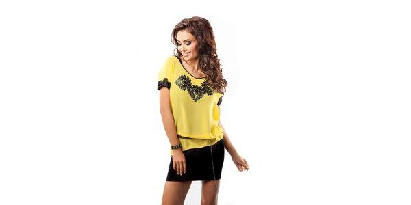Dámsky žltý voľný top s čiernou potlačou Enny