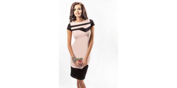Dámske púdrové šaty s čiernymi detailmi Enny