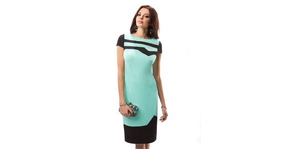 Dámske modré šaty s čiernymi detailmi Enny