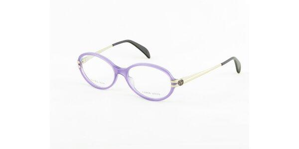 Dámske fialovo-strieborné dioptrické obrúčky Giorgio Armani