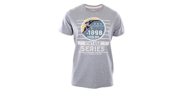 Pánske šedé tričko s potlačou Goodyear
