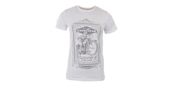 Pánske biele tričko so svetlo šedou potlačou Goodyear